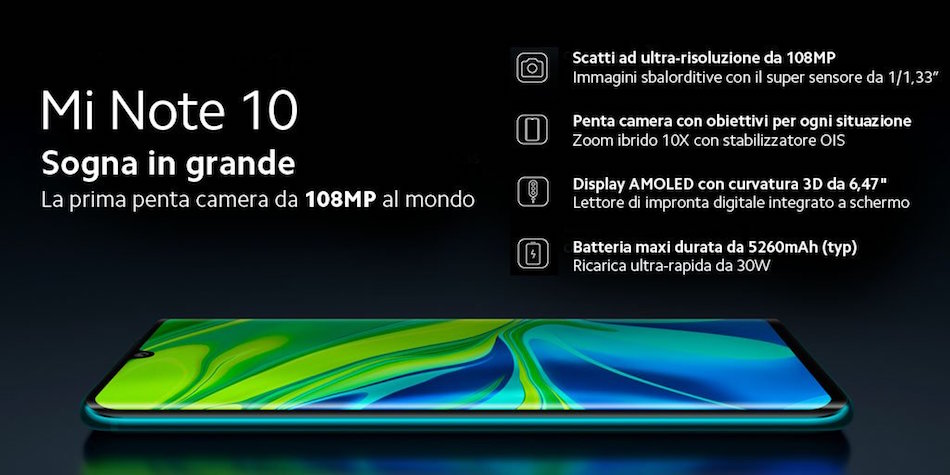 Coupon Xiaomi Mi Note 10. Offerta Incredibile